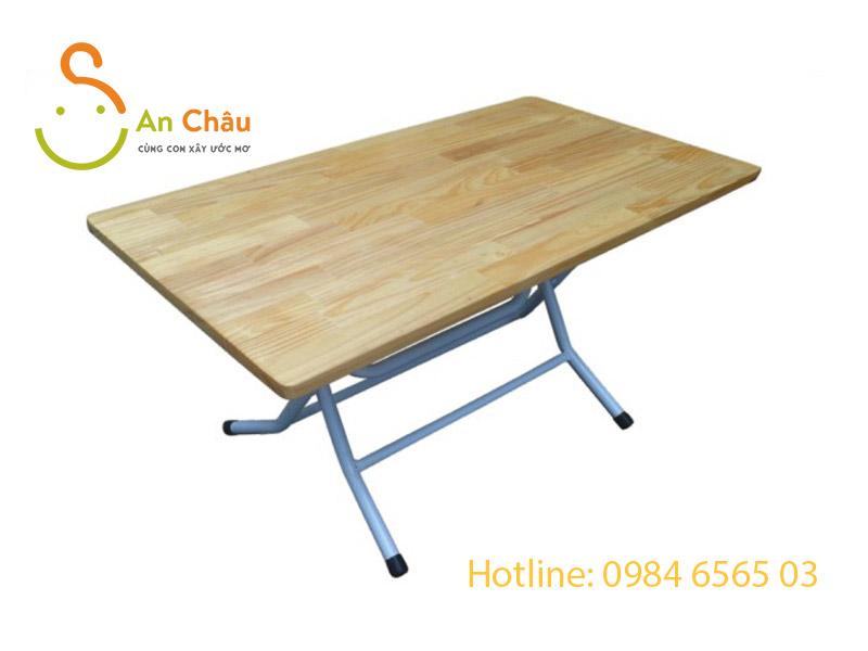 bàn gỗ thông hình chữ nhật chân sắt